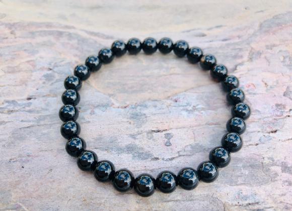 Natural Obsidian Bead Bracelet | Pulsera Obisidian