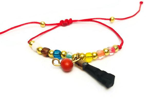 Children's Azabache + 7-Chakra Cord Bracelet | Pulsera de Azabache para Niños