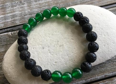 OGUN Bracelet | Green Jade + Natural Black Lava Beads