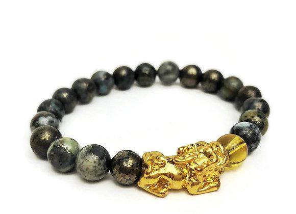 Jade Pyrite Stone + 18K Gold Plated Pi Yao Wealth Bracelet   Feng Shui Bracelet