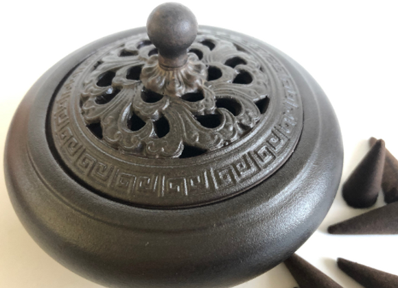 Artisan Ceramic Burner for cones, resins, herbs, sage, incense sticks