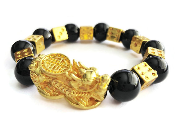Natural Obsidian 18K Gold Plated Pi Yao Wealth Bracelet for GAMBLING