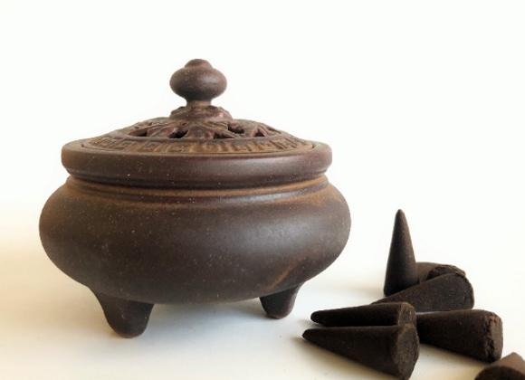 Artisan Ceramic Burner for cones, resins, herbs, sage, incense sticks