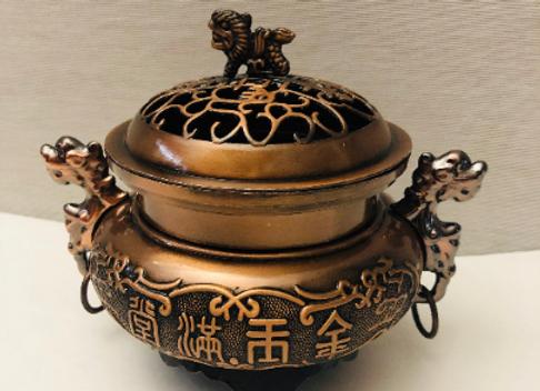Copper Fu Dog Detailed Metal Burner for cones, resins, incense, herbs.