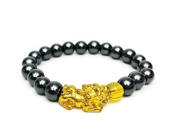 Hematite Crystal Stone + 18K Gold Plated Pi Yao Feng Shui Wealth Bracelet