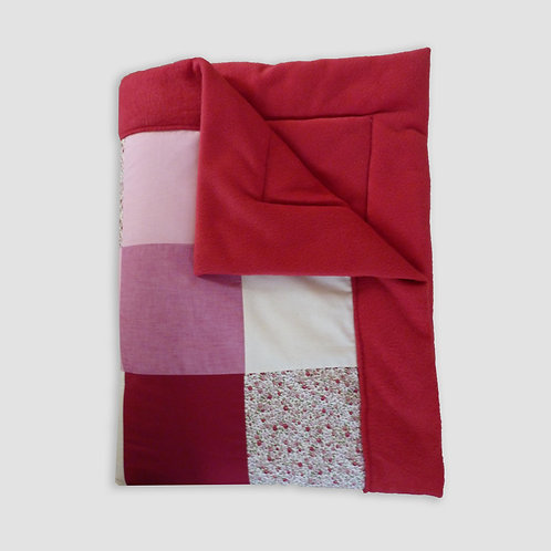 PATCHWORKDECKE ROSA/ROT