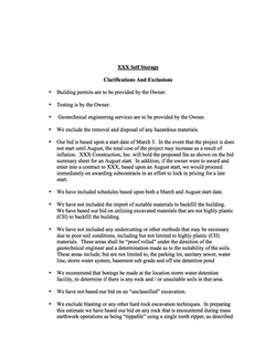 Clarifications and Exclusions Sample