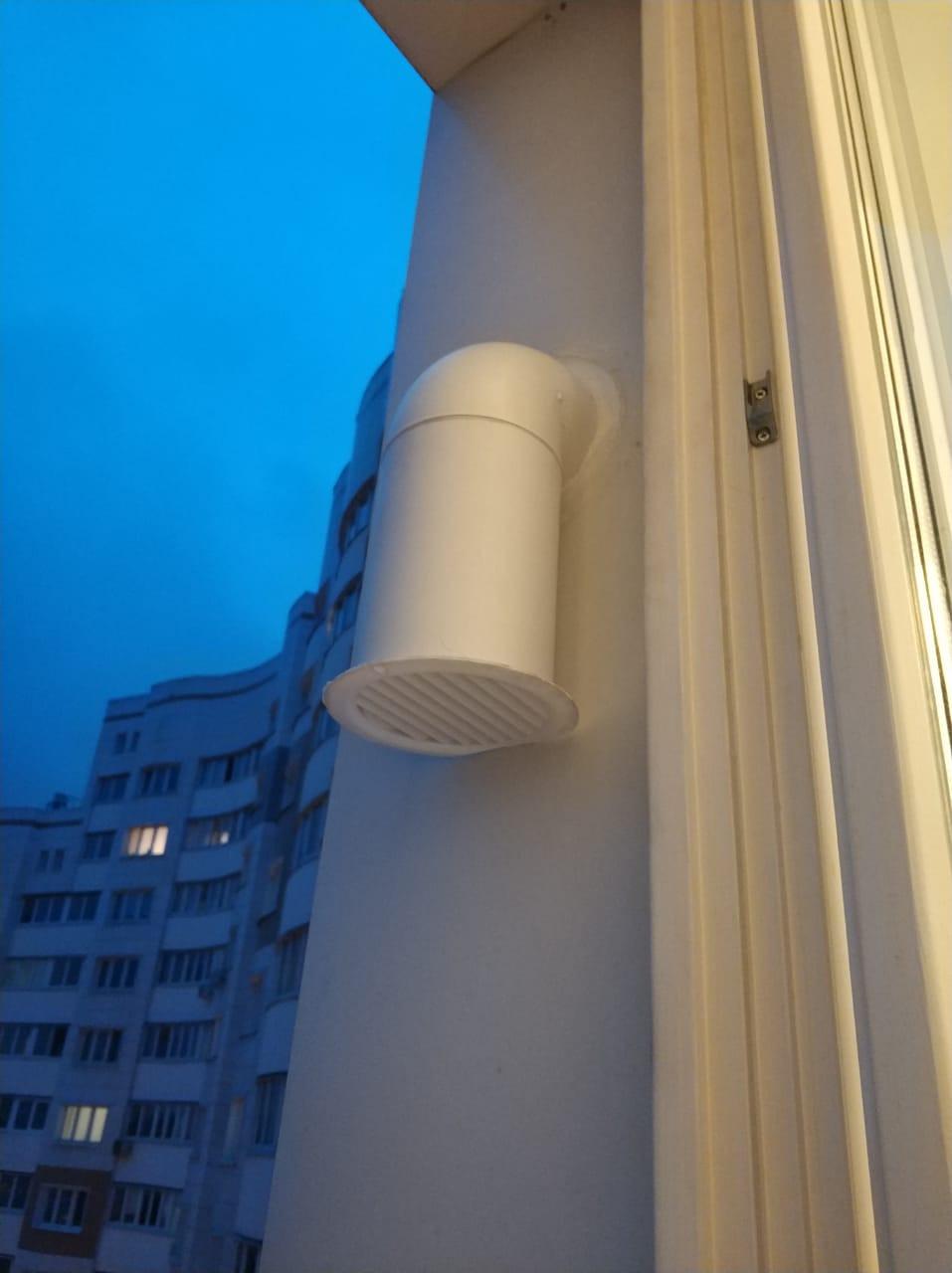 Вывод вентканала с фильтром в откос окна