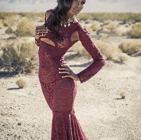 Long Sleeve Burgundy Lace Cut Out Mermaid Flared Tail