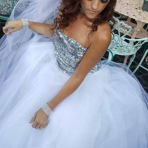 Sabra Kadabra Bridal Prom Special Occassion Sequence Knit Wedding Dress