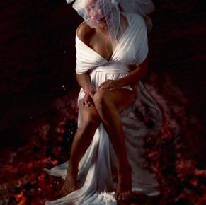 White High Slit Empire Waist Long Knit Dress