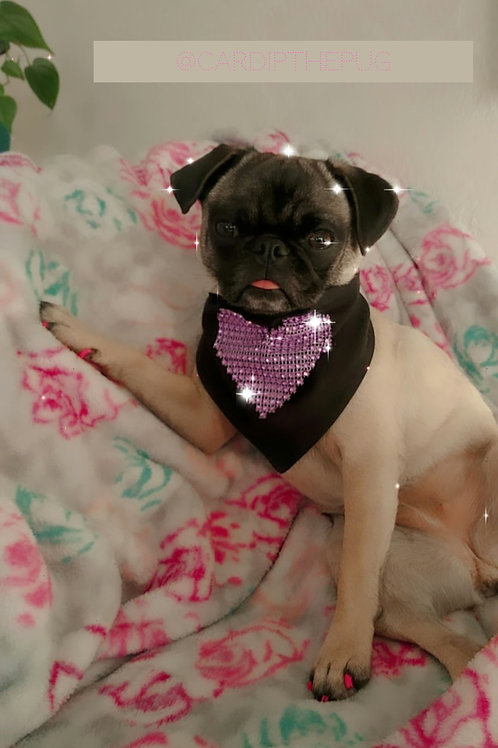 Cardi's Faux Bling heart bandana