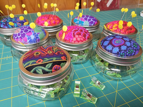 Pin cushion and clip storage containers