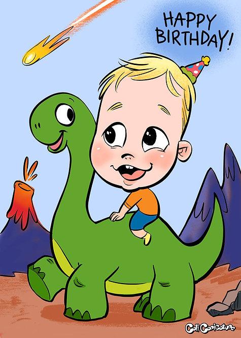 caricature portrait cartoon face full body dinosaur theme cute kids toddlers baby drawings fun birthday