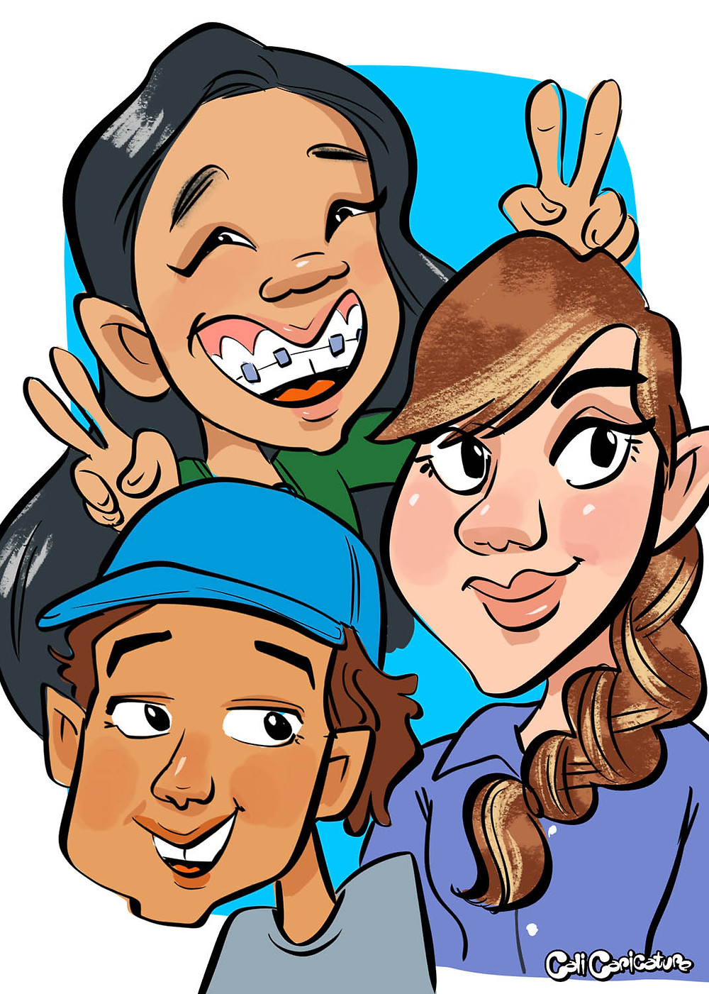 siblings family caricature portrait faces cartoon drawing families art fun cute caricatures cali group photo pic image