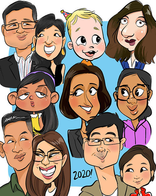 large group caricature, group cartoon caricatures, family caricature