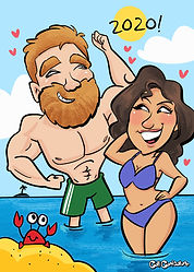 Couple-caricature-beach-theme-cartoon-fu