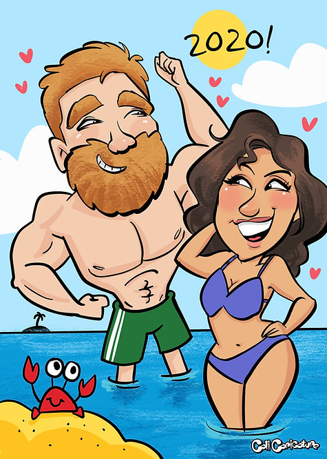 caricature portrait cartoon faces full body cute couple drawings beach bodies theme