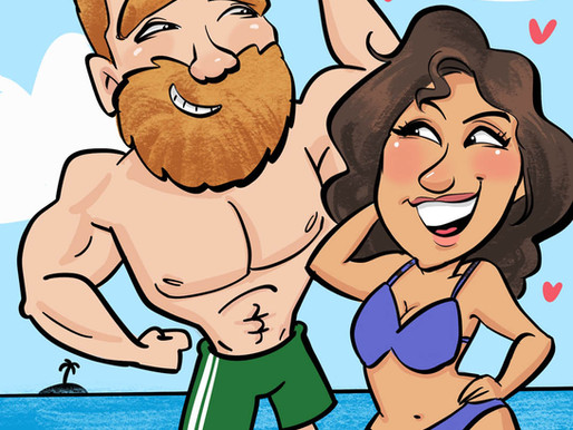 Cool Off with Our Summer-Themed Digital Caricatures: Beach Theme