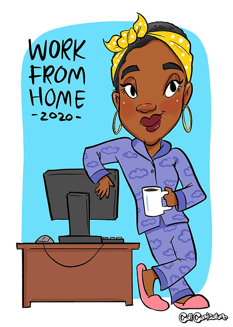 caricature portrait cartoon face full body work from home wfh telecommute profile pic avatar meeting picture drawing logo