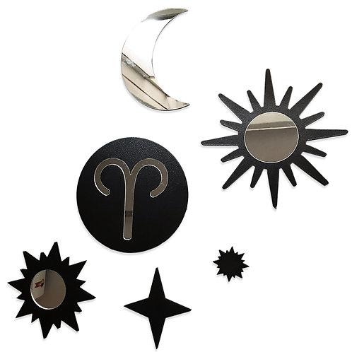 Conjunto Espelho Místico Signos Zodíaco Estrelar