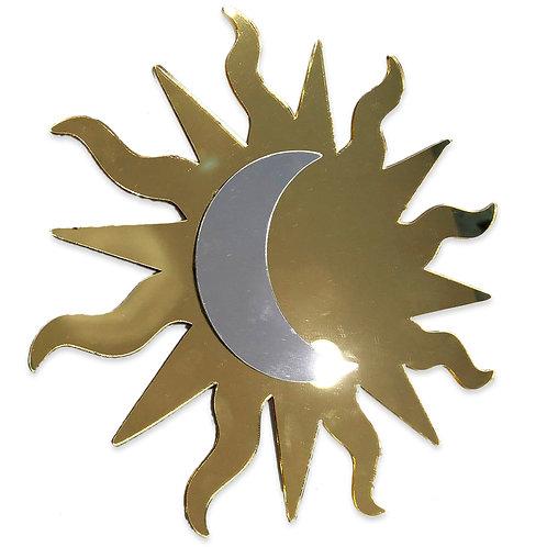 Espelho Decorativo Em Acrílico Mandala Sol E Lua 20cm