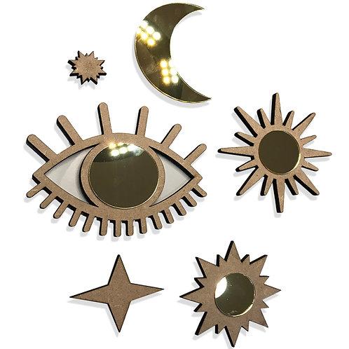 Conjunto Espelho Decorativo Místico Estrelas Esotérico