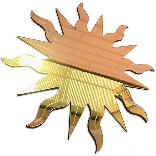 Espelho Decorativo Raios De Sol Esotérico Místico Ouro 28cm