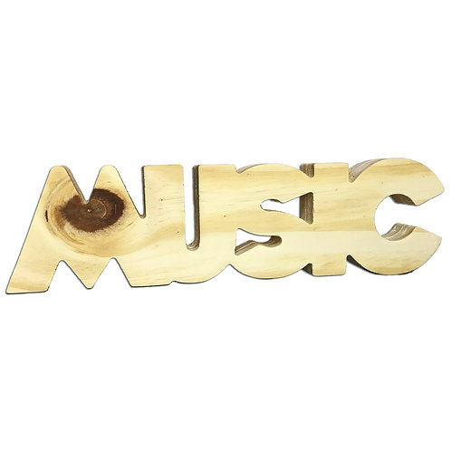 Palavra Decorativa Madeira Music 25cm