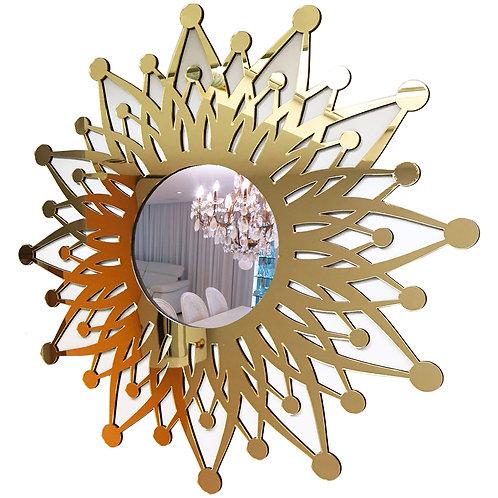 Espelho Sol Místico Mandala Solar Ouro Luxo 60cm