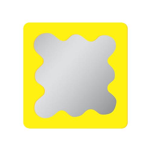 Espelho Indie Amarelo Acrilico Curvas 35cm