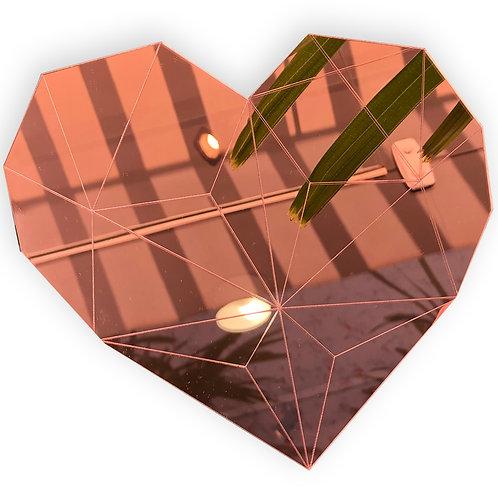 Espelho Decorativo Em Acrílico Coração Rosé Gold 20cm