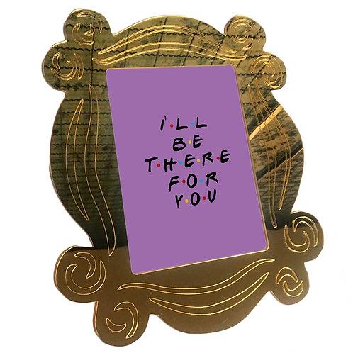 Quadro Série Amigos Acrílico Dourado Espelhado 26x30 Cm