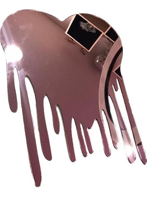 Espelho Derretido Decorativo Em Acrílico Coração Rosé 20cm