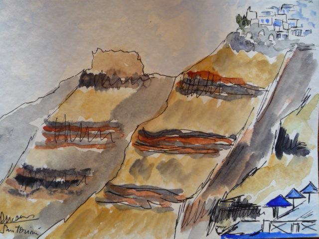 aquarelle_encadrée_falaises_volcaniques