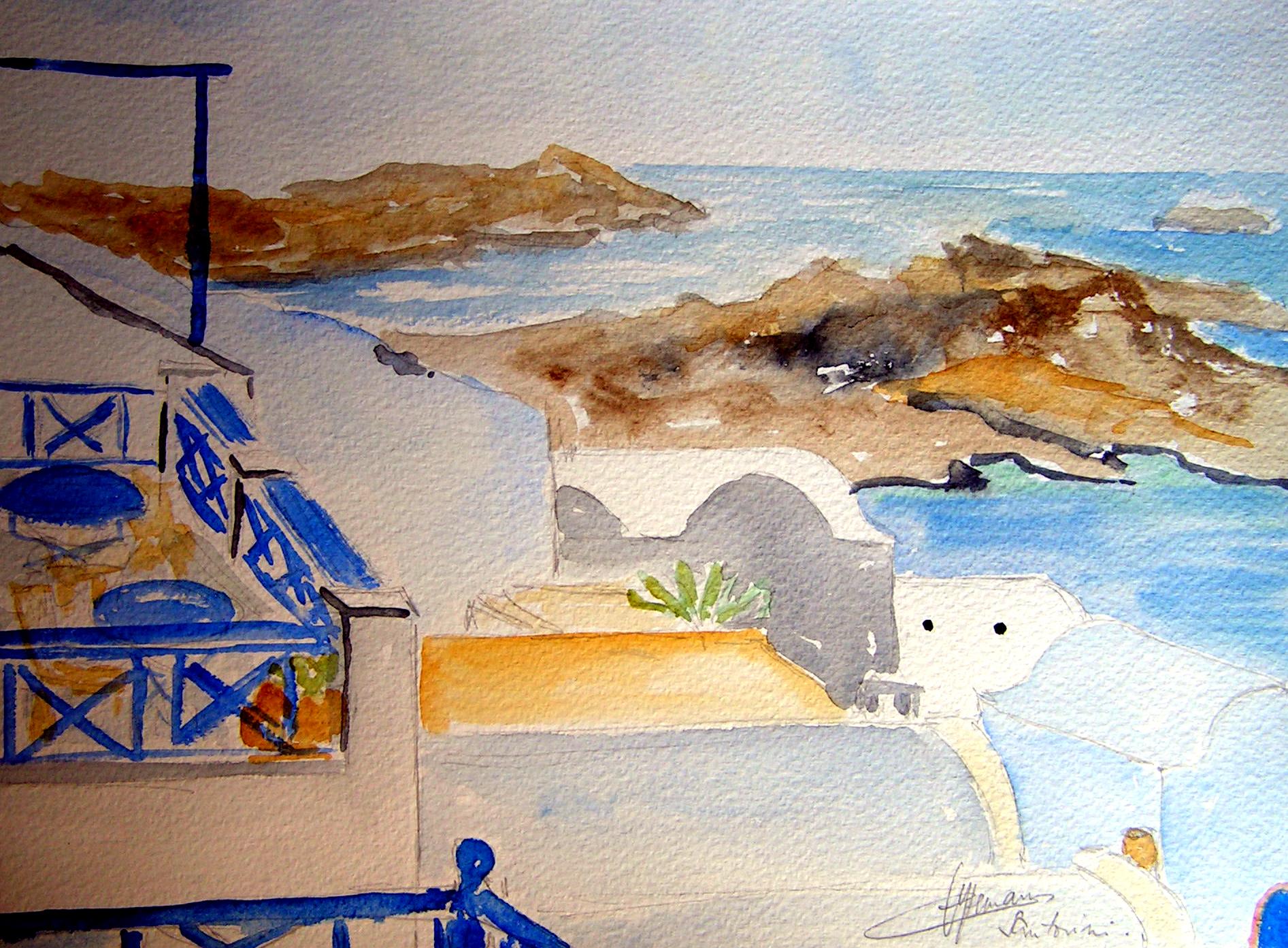 grece depuis un balcon , vur sur volcan