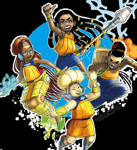Quatre enfants Noirs, dans des poses dynamiques de combat. Il s'agit de trois filles et un garçon. En haut au milieu, la première a de longues locks noires et porte une lance, la deuxième à gauche est rousse, et est handicapée. Une prothèse dorée lui entoure les jambes. La troisième en bas au centre est albinos et a deux bracelets en or et le quatrième à droite porte un pagne bleu foncé et un tam-tam sur le dos.
