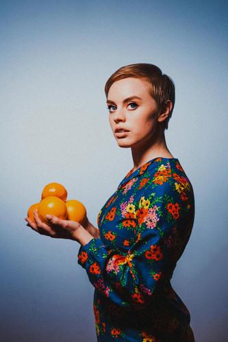 Ursula Searle with Oranges