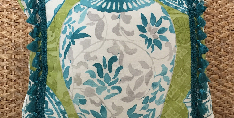 Blue - Green - White - Gray Vase Pillow