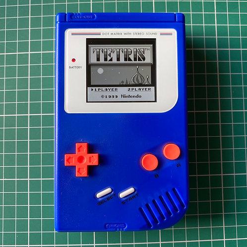 """Backlit IPS V2 Original Gameboy """"Blue Thunder"""""""