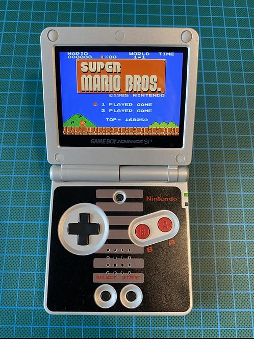 "Backlit IPS V2 Gameboy Advance SP - ""1985 Hero Power Plus"""