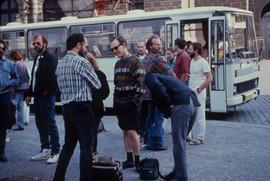 Artists waiting for public transportation in Prague