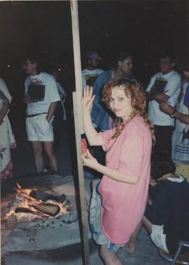 Margita Titlova at the bonfire