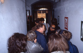 Crowd entering the gallery at Lidovy Dum