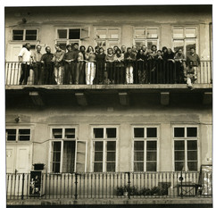 Czechoslovak and LA artists on the balcony of Galerie Mladych
