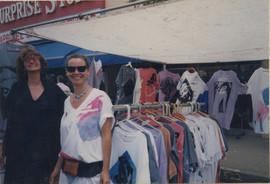 Zdenka Gabalova and Barbara Benish selling tshirts