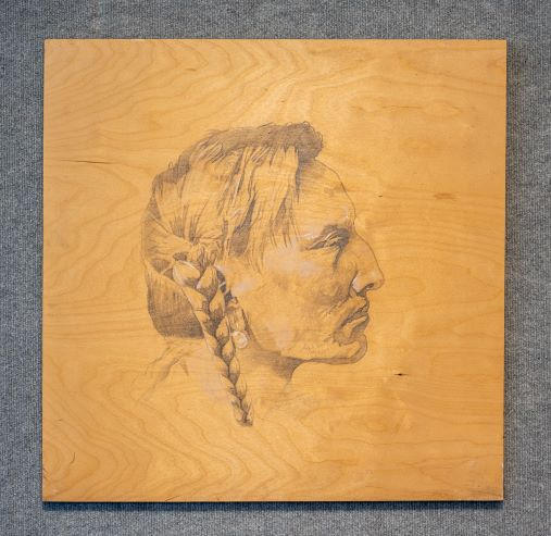 Spotted Bull, Graphite on Wood, 24 x 24 inches, $350 Artist Billy Smith