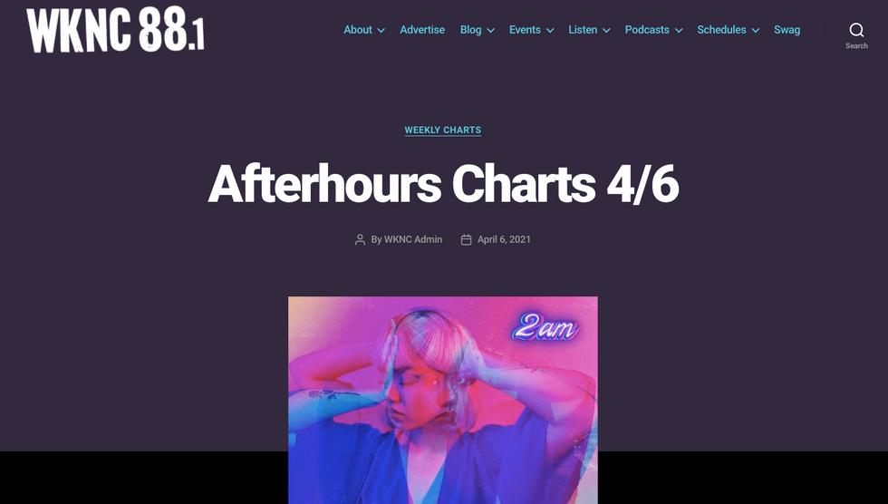 WKNC 88.1   Afterhours Chart 4/6