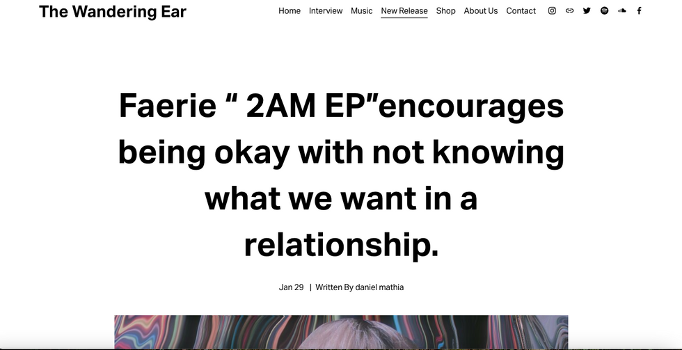 "The Wandering Ear | Faerie "" 2AM EP""encourages being okay with not knowing what we want in a relationship."