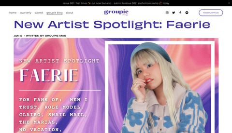 Groupie Mag | New Artist Spotlight: Faerie